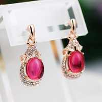 Oval Rose red / Grape green Natural semi precious stones exquisite earrings jewelry