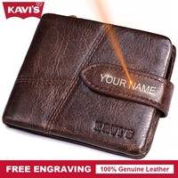 KAVIS Brand Genuine Leather Wallet Man Hasp Coin Purse Magic Thin Male Walet Portomonee Gift For