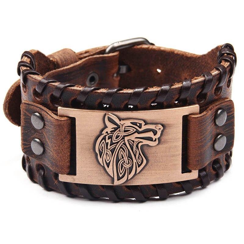 Vintage Religious Viking Bracelet Wolf