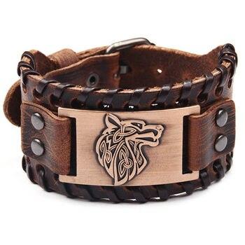 Vintage Viking Wolf Bracelet Signs of Wolves Bracelet Leather Strap  Viking Bracelet