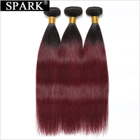 Spark Hair Ombre Brazilian Straight Virgin Hair 3 Bundles 100% Human Hair Weave 1B 99J Burgundy Two Tone Hair Extensions
