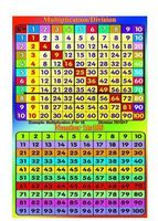 MULTIPLICATION DIVISION Number 1 100 Square Maths Times Tables Educational Poster Wall Sticker 50cmX75cm Free Shipping