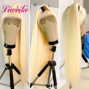 Wig Remy Frontal-Wigs Blonde Human-Hair Liweike Straight Long-Inch 613 Full-Lace Brazilian