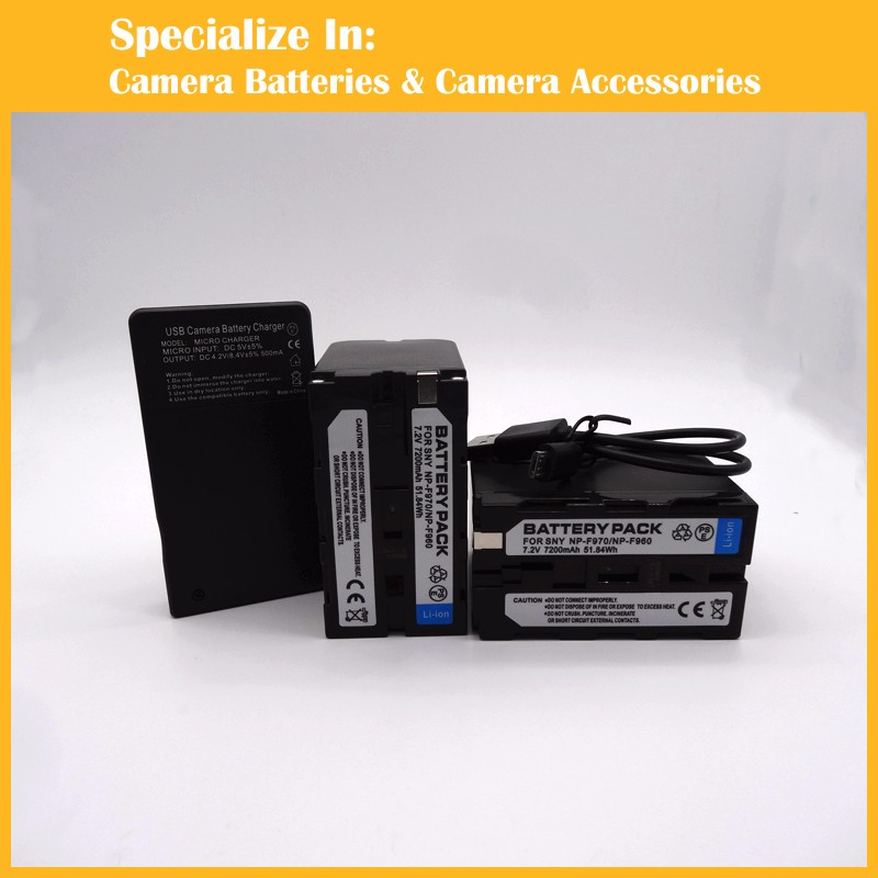 Professional rechargeable NP-F750 NP-F770 2 x battery + charger For Sony NP-F330 F530 F550 NP-F530 F570 NPF550 NP-F570 NP-F970 np f960 f970 6600mah battery for np f930 f950 f330 f550 f570 f750 f770 sony camera