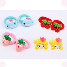 2PCS/lot  Cute Cartoon Fruit Flower Princess Headwear Children Headdress Hair Ropes Girls Accessories Elastic Bands