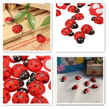 100pcs Wooden Beetle Ladybug Refrigerator Sponge Paster Cute Fridge Wall Sticker