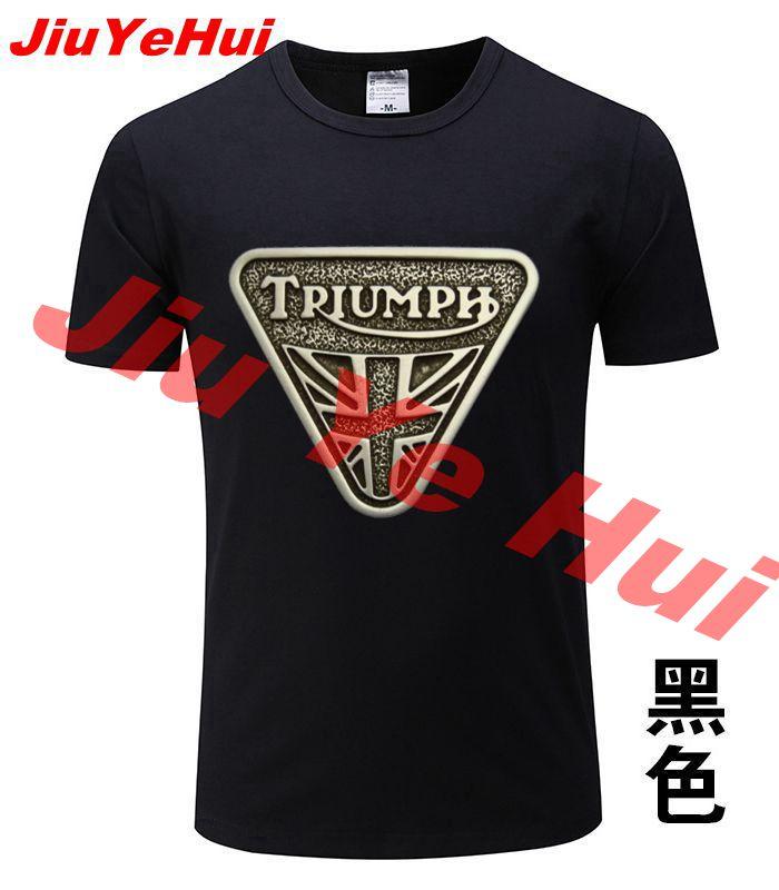 Brand New Classic TRIUMPH MOTORCYCLE   T     Shirt   Men 100% Cotton Short Sleeve Good Quality   T  -  shirt   Top Tees Men's Summer Tshirt