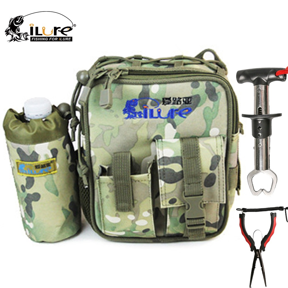 ilure17*7*21cm  Multifunction Outdoor Sports Bags +23cm Fishing Pliers +15.7*1.7cm Fish Grip  Portable Tackle Combo Lure Tool  цены
