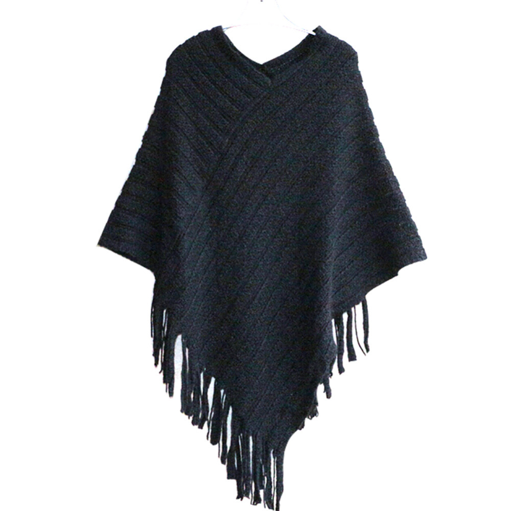New 2017 Womens Ladies Cape Coat Fringe Poncho Oblique Stripe Coat Bohemian Shawl Scarf