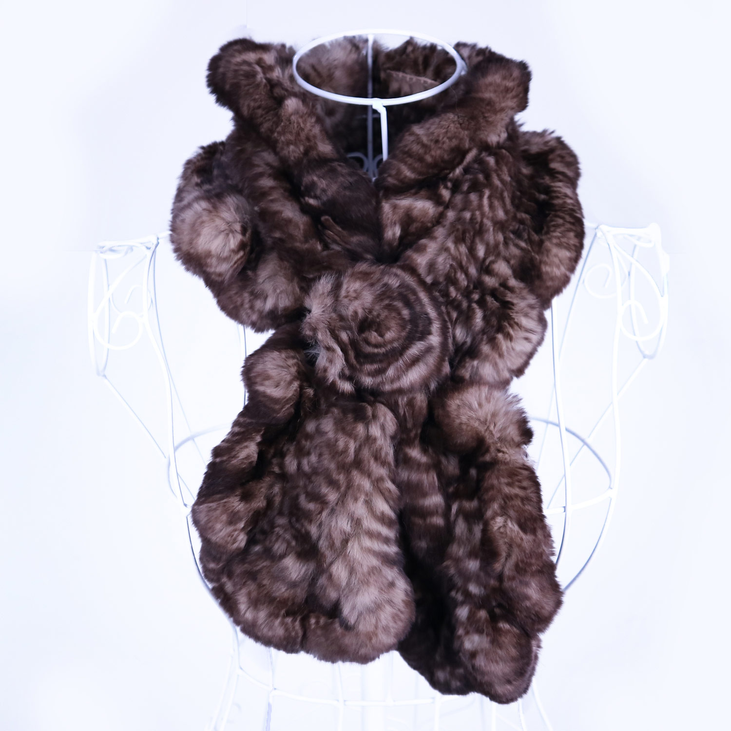 New Arrival Real Rex Rabbit Fur Scarf Women Winter Warm Luxurious Cross Over Floral Fur Scarve Long Fluffy Natural Fur Collar