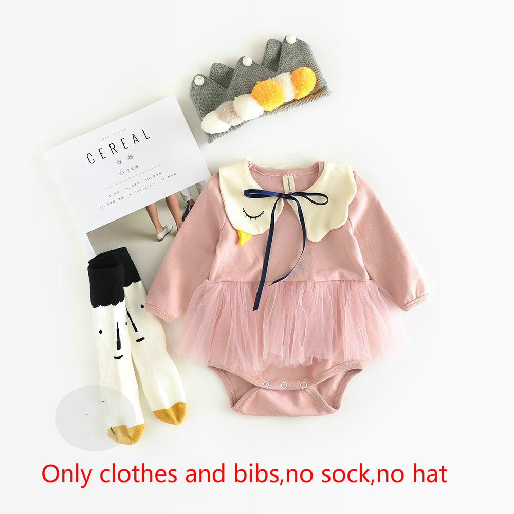 Autumn Explosion Female Baby romper Baby Swan, Conjoined Clothing, 0-6-12 Months Clothing Baby Girl Clothes