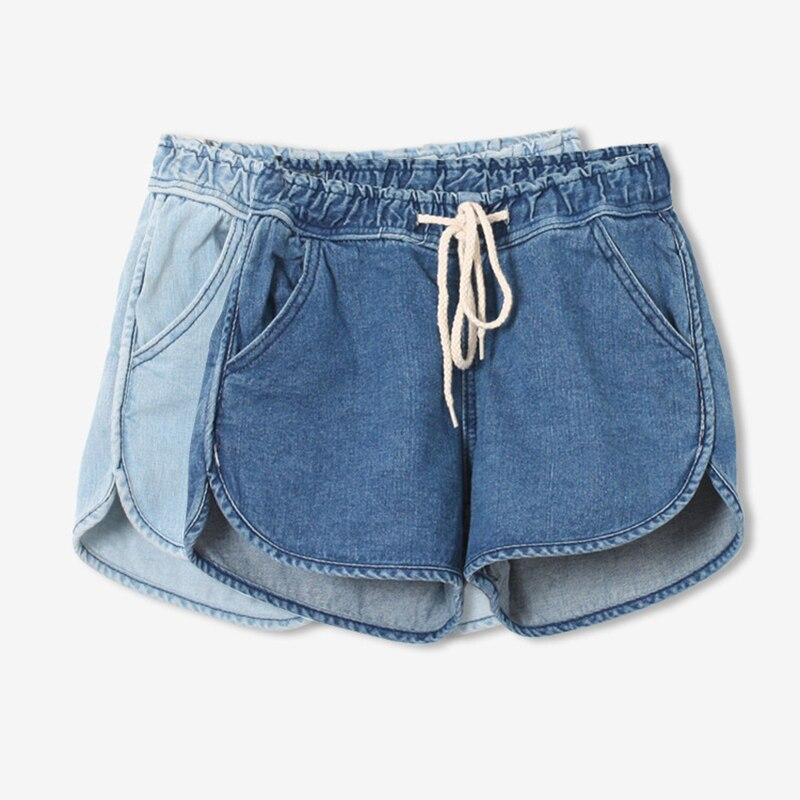 Short Jeans Women Korean Style Casual Blue Mid Elastic Waist Loose Short Denim Shorts Ladies Denim Jeans Plus Size Feminine