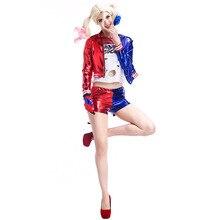 Полный комплект для женщин, костюм для косплея «Харли Куин», прозрачный костюм для костюмированной вечеринки, как персонаж Margot Robbies из фильма «Отряд Самоубийц»