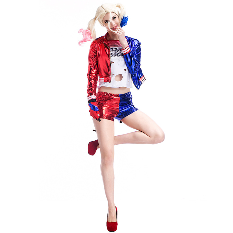 Conjunto completo de Las Mujeres Harley Quinn Cosplay Claro Favorito A Vestirse Como Margot Robbies Personaje De la Película el Comando Suicida