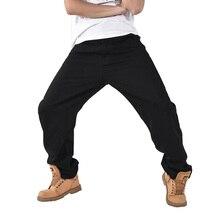Aboorun 2016 мужские черные мешковатые джинсы негабаритных гарем джинсовые брюки hip hop скейтборд джинсы для мужчин p7014