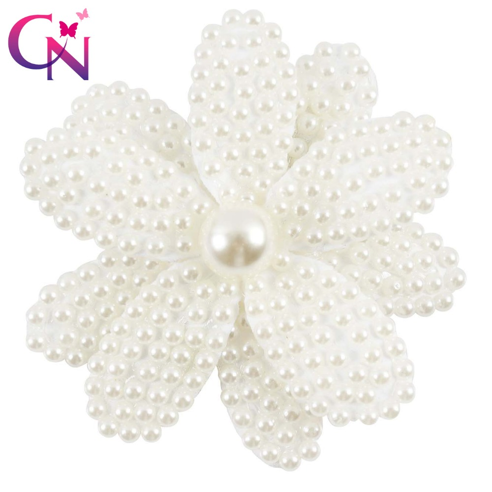 5 Pcs/lot White Pearl Covered Flower With Clip For Girls Kids Boutique Fashion Luxury Hairgrips Headwear Hair Accessories