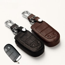 Genuine Leather Car Key Cover Key Case for Jeep Grand Cherokee Renegade 2014 2015 Chrysler 300C Fiat Freemont Auto accessories