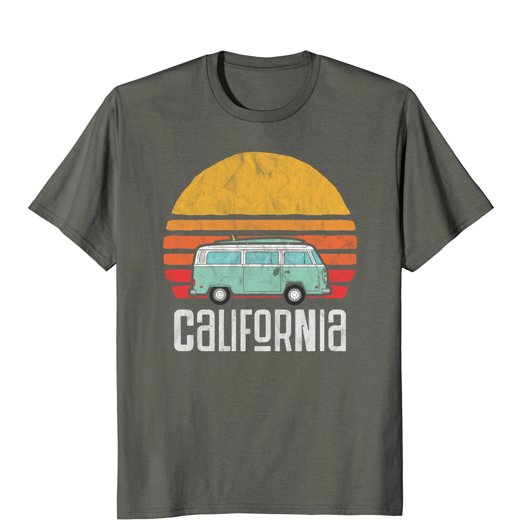 Funny Men T Shirt Women Novelty Tshirt Retro California Hippie Van Beach Bum Surfer T Shirt