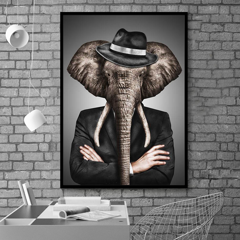 Black and White Classy Lion Tiger Elephant Giraffe Wolf Horse Wall Art Posters And Prints Animal Black and White Classy Lion Tiger Elephant Giraffe Wolf Horse Wall Art Posters And Prints Animal Wearing a Hat Canvas Painting