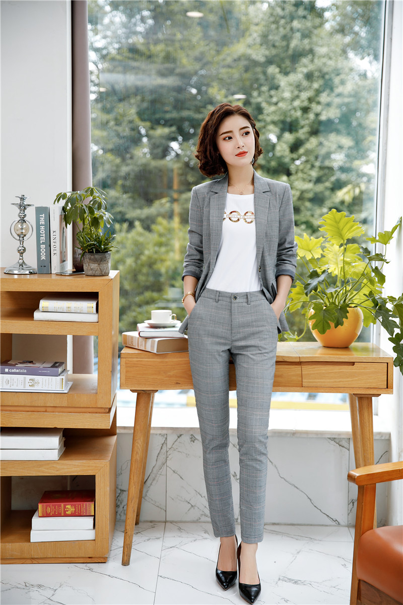 Y Pantalones Chaqueta Mujer Otoño Mujeres Grey Diseños Cuadros Con gYbyvf76