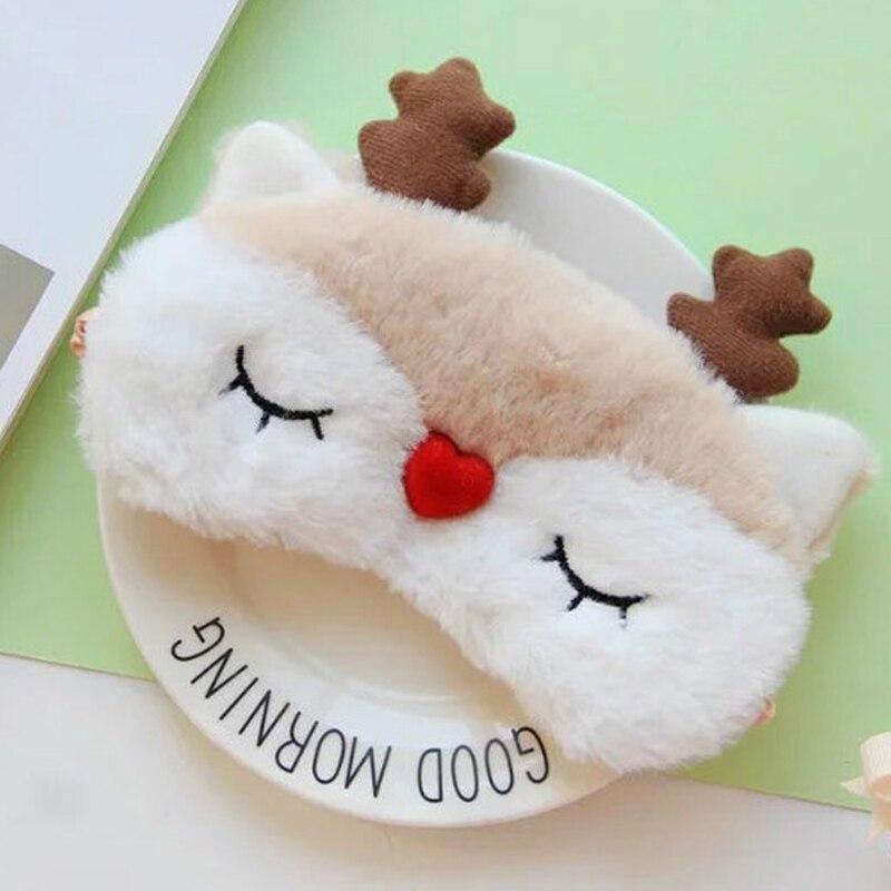Cute Cartoon Animal Sleeping Eye Toy Mask Cartoon Blindfold Eye Christmas Deer Soft Cover Girl Kid Teen Traveling Sleep Eyeshade