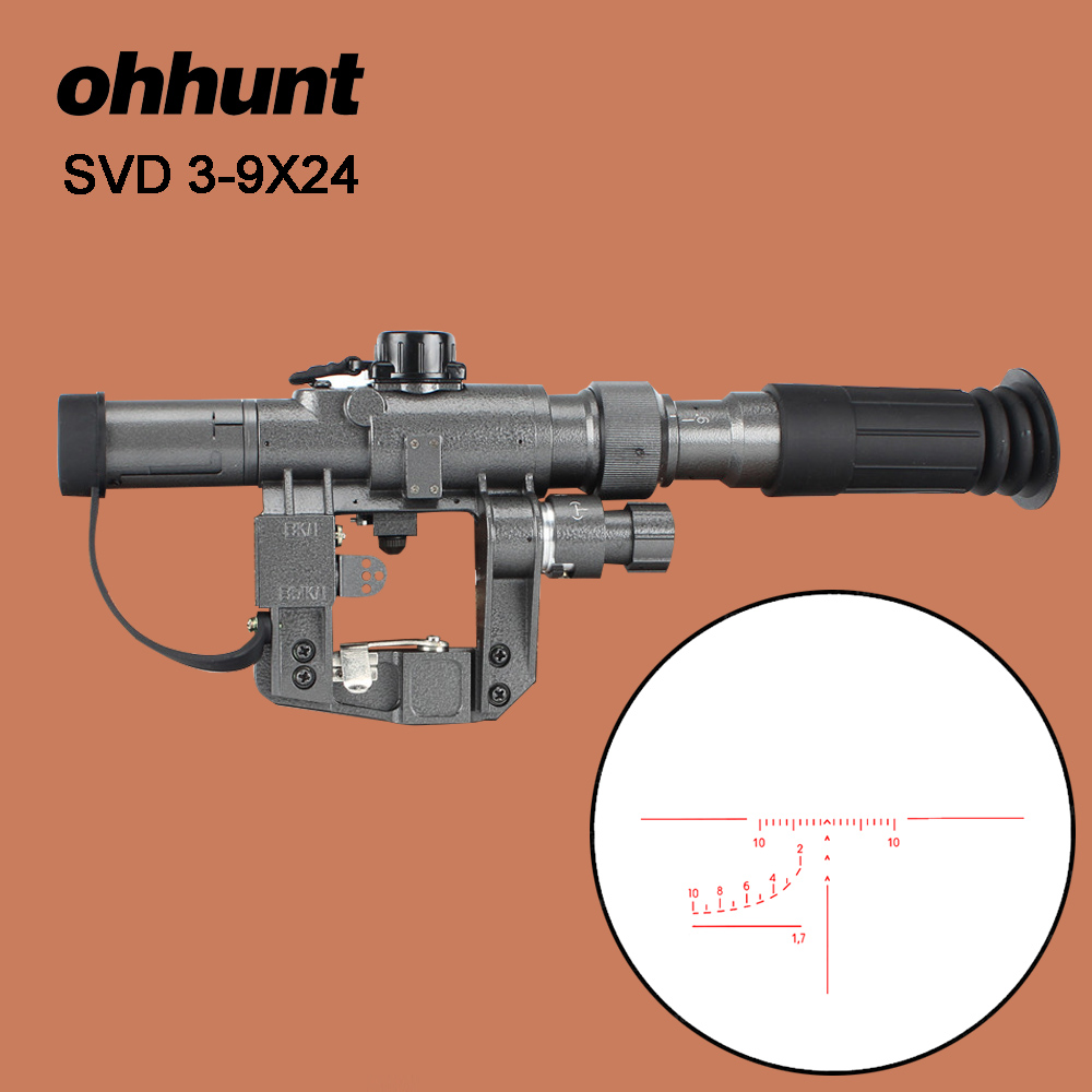 Ohhunt SVD Dragunov POS 3-9X24 iluminado rojo caza Riflescope de retícula táctico óptica lugares disparando AK Rifle