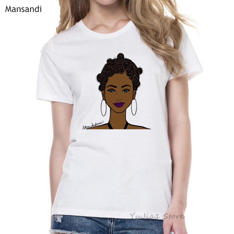 Melanin Poppin Shirt vogue t shirt women black African Curly Hair girl printed tshirt femme harajuku clothes female t-shirt tops 10