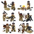 12PCS LegoINGlys Military WW2 Figures Biochemical World War US Army Soldier City Police Zombies Air Weapons Guns Building Blocks