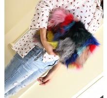 Nature fox fur women clutch bags 2017 patchwork blosa party bag chians shoulder bag zipper winter female purse crossbody bag