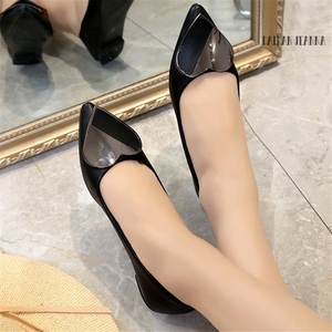 Image 2 - Sharp head flat bean shallow mouth single elegant Ms. shoes spring and autumn 2018 new type of wild womens shoes European style