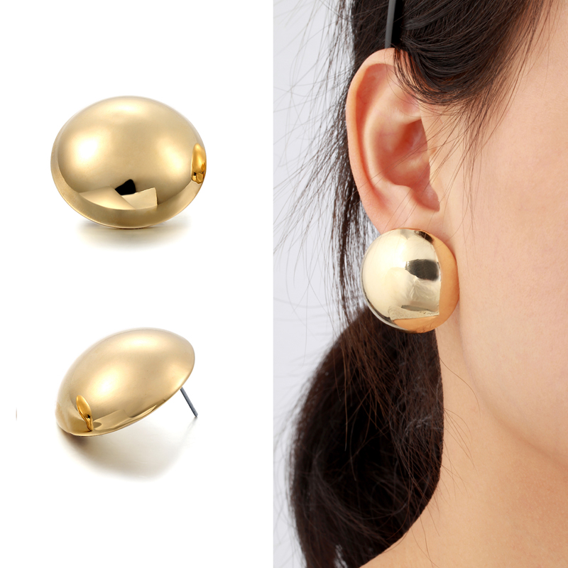 Us 3 49 30 Off Yellow White Gold Color Oversize Round Mirror Statement Half Ball Stud Earrings For Women Jewelry Boucle D Oreille Aros In