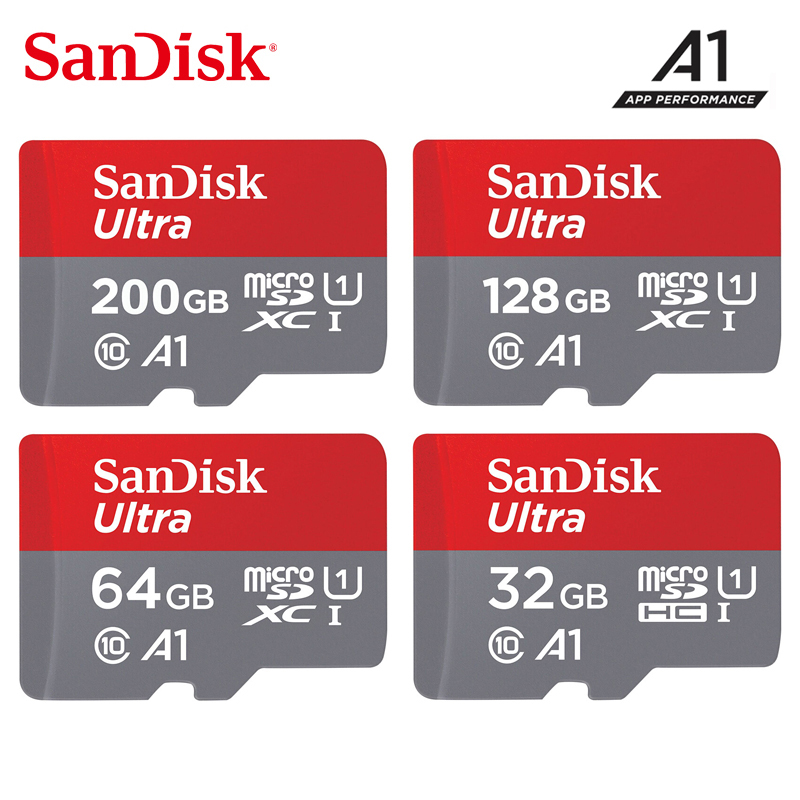 Original Sandisk Micro Sd Card 16gb 32gb 64gb 200gb Cartao De Memoria Carte Micro Sd 128gb Class 10 Up To 90MB/s Memory Card