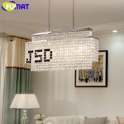 FUMAT kryształ K9 lampy wiszące DIY czarny LOGO nowoczesne oświetlenie ze galwanicznie stali nierdzewnej wisząca oprawa oświetleniowa E14 LED jadalnia