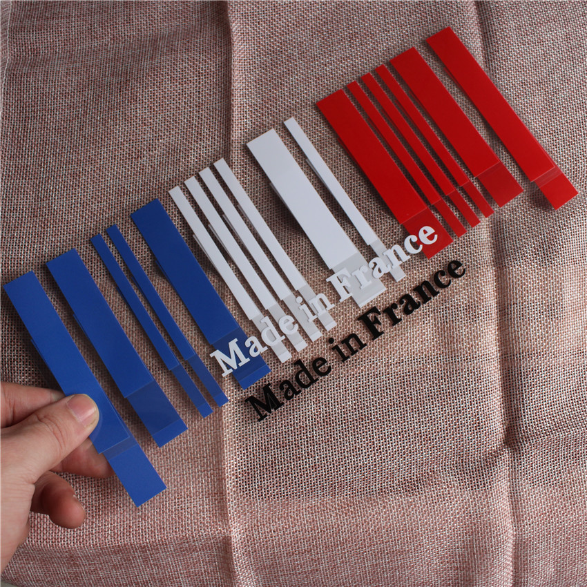 9x25cm 1pc New Made In France Flag Bar Code Car Funny Stickers PVC Decal Styling For Peugeot Citroen Renault Bugatti DS Dacia
