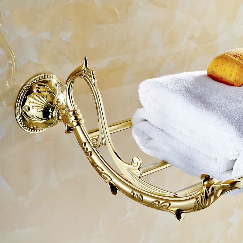European Gold Towel Rack Antique Leaf Carved Towel Holder 60 Cm Art Design Bathroom Shelf Solid Brass Bathroom Products jg02