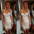 Woman Dress Party 2017 Latest Designs Glitter Long Sleeve Rhinestone Short Dress With Crystals Nude Backless Cocktail Dresses