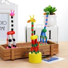Bébé jouets enfants créatif bois jouet girafe marionnette balançoire Animal en terre cuite Clown baril Parent enfant jouets