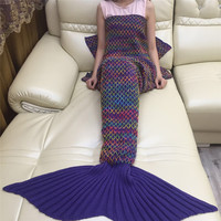 Fashion Christmas Gift Mermaid Carpets Nap Blanket Rug Wool Knitting Fishtail Winter Mermaid Blanket Carpet Wool T35