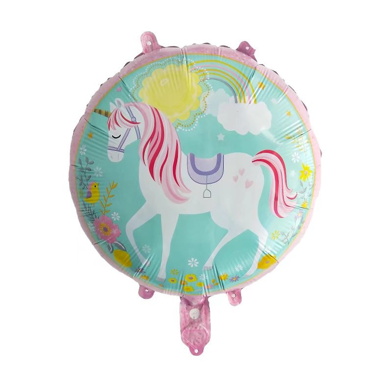 10pcs 18inch Round Anagram Unicorn Horse Balloons Foil Helium Balloon Globos Inflatable Kids Birthday Party Decorations Supplies