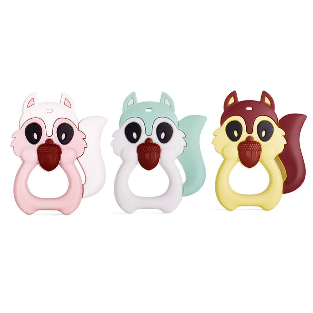 New Cartoon Squirrel Shape Baby Teethers Safety Infant Teether Food Grade Silicone Gums For Baby Grind Teething Toy BPA Free