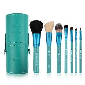 Image 4 - Zoreya Brand 7Pcs Black Natural Goat Hair Lip Professional Makeup Brushes Blush Powder Foundation Eye Shadow Makeup Tools Wool