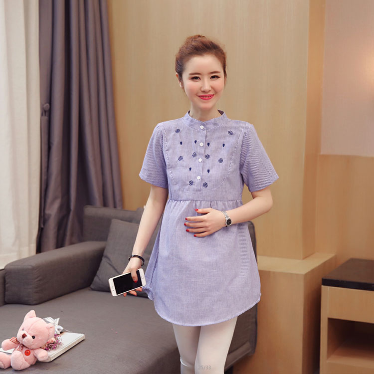 New fashion waist pleated embroidery cotton maternity shirt spring and autumn shirt shirt pregnant women clothing