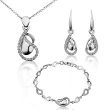 2016 Silver Jewlery Set Fashion Noble Oval Necklace Ring Earrings Sets Classic Wedding Dress Free Shipping
