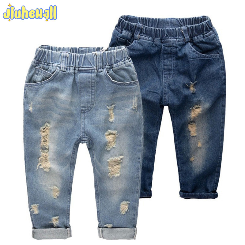 8 Size Children Denim Pants Boy Girls Ripped Jeans Baby New Arrivals Jeans 2017 Kids Casual