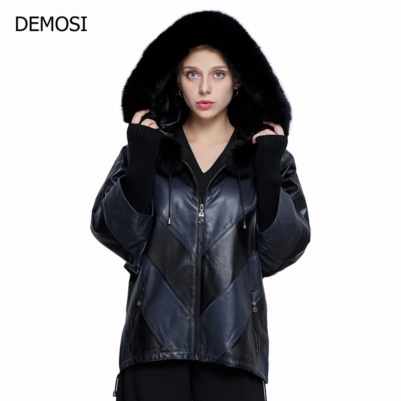 2018 New Style European Autumn Fur Hooded Sheepskin Genuine Leather Womens Jacket Zipper Plus Size For Female Casaca Mujer