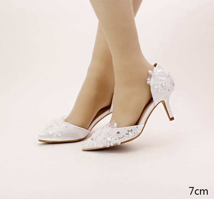 Aesthetic white lace flower bridal shoes high heeled thin heels shoes banquet font b women s