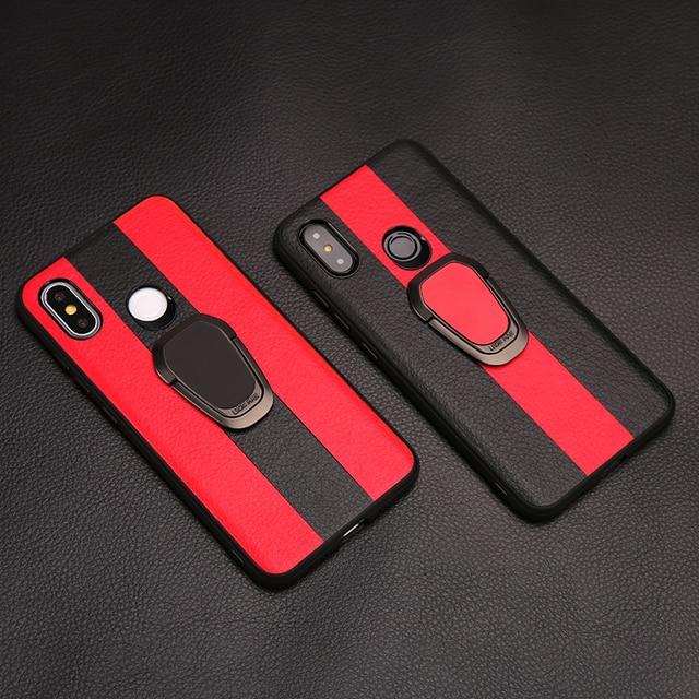 Funda de teléfono de coche de lujo para Xiaomi mi 9 8 A1 A2 Lite 5X 6X mi x 2S Max 3 anillo de soporte giratorio de borde de TPU para Red mi Note 7 5 6 Pro 6A