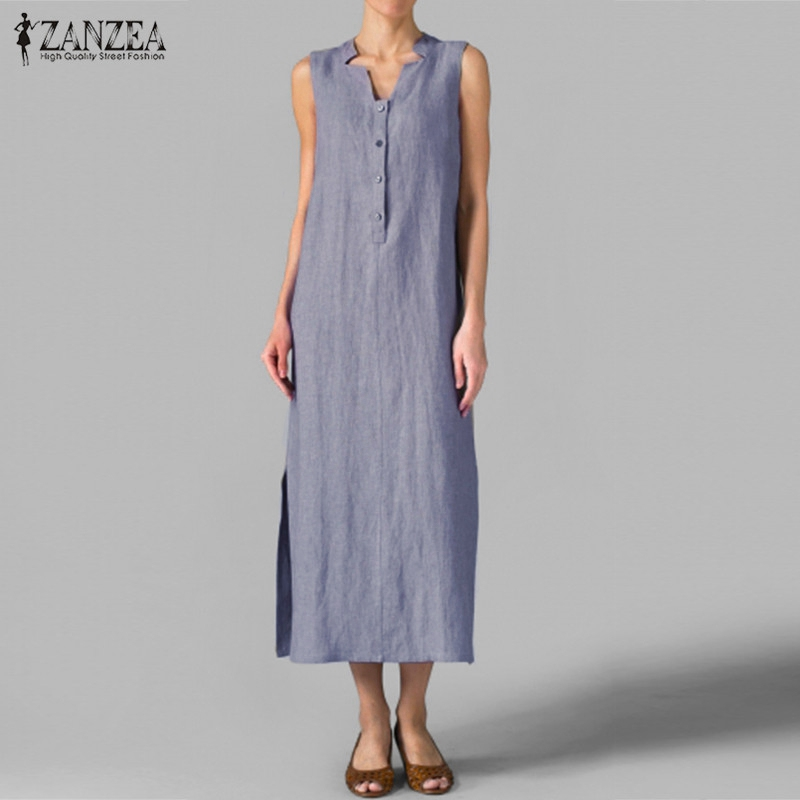 ZANZEA Women 2018 Summer Casual Loose Maxi Long Dress V Neck Sleeveless Vintage Dress Sexy Split Cotton Vestidos Ankle-length