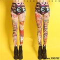 Sexy Tattoo Print Leggings Dance Wear Women Female Singer Stage Costume  Pants