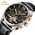 Hollow Out Men's Watch Skeleton Mechanical Automatic Watches Complete Calendar Leather Rose Golden Men Wriswatches Tourbillon